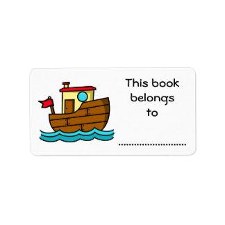 This Book Belongs To, Cartoon Boat Address Label