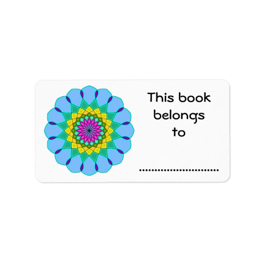 This Book Belongs To, Colourful Mandala Style Label