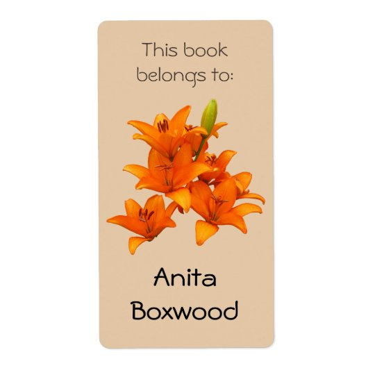 This Book Belongs To Custom Name Orange Lilies Shipping Label