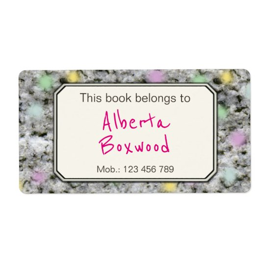This Book Belongs To Custom Name Rock Texture Shipping Label