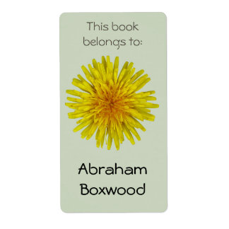 This Book Belongs To Custom Name Yellow Dandelion Shipping Label