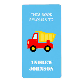 Labels - This book belongs to dump truck bookplate labels | Personalized Text