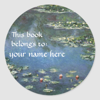 This Book Belongs To ... Fine Art Bookplates Classic Round Sticker