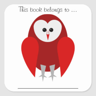 This book belongs to ... (Red barn owl, Large) Square Sticker