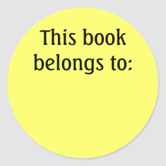 This book belongs to: round sticker