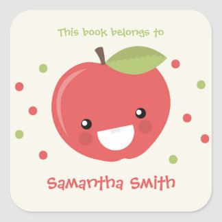 This book belongs to stickers, red apple bookplate square sticker