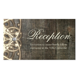 This Country Lace and Wood Rustic  Reception Card Double-Sided Standard Business Cards (Pack Of 100)