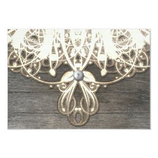 This Country Lace and Wood Rustic RSVP Card 9 Cm X 13 Cm Invitation Card