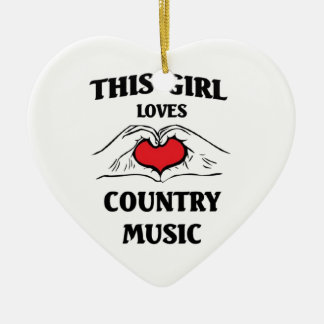 This girl loves Country Music Ceramic Heart Decoration