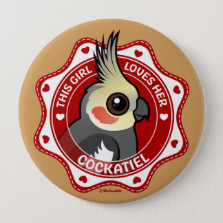 This Girl Loves Her Cockatiel 10 Cm Round Badge
