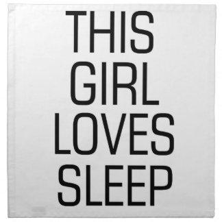 This girl loves sleep napkin