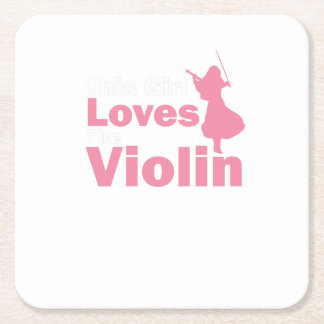 This Girl Loves The Violin Gift Square Paper Coaster