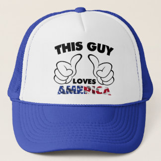 This guy loves america trucker hat