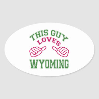 This Guys Loves Wyoming Oval Stickers