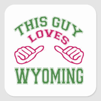This Guys Loves Wyoming Square Sticker