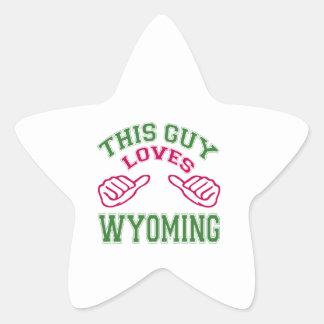 This Guys Loves Wyoming Star Sticker