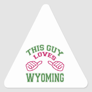 This Guys Loves Wyoming Triangle Sticker