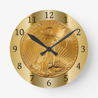 This image depicts an American Gold Eagle Coin Round Clock