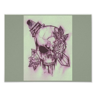 this is a cool skull with a sword through it poster
