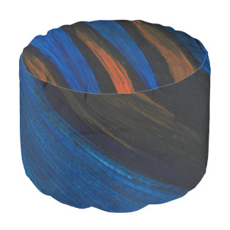 This is a Round Pouf, Blue, Black and Orange. Pouf