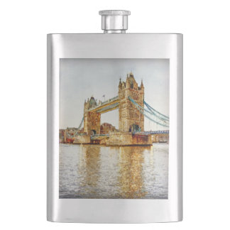 This is a watercolor print of one of the London Br Flask