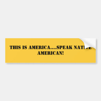 This is America....speak Native American! Bumper Sticker