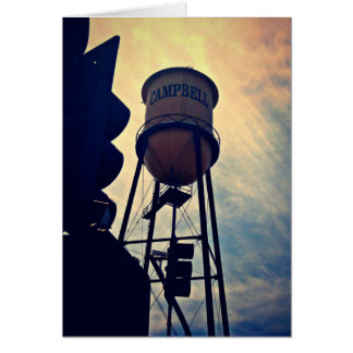 This is Campbell CA, Campbell Water Tower Card