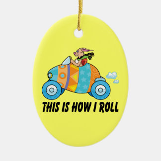 This Is How I Roll Easter Bunny Ceramic Oval Ornament