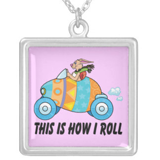 This Is How I Roll Easter Bunny Square Pendant Necklace