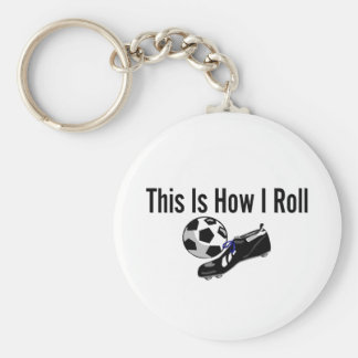 This Is How I Roll Soccer Ball Shoes Basic Round Button Key Ring