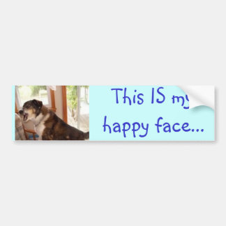 """This IS my happy face..."" bumper sticker"