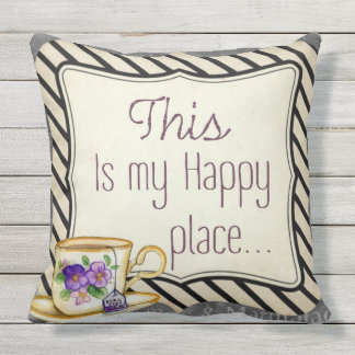 this is my happy place teacup  outdoor or indoor cushion