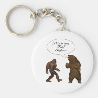 This is-my Turf Bigfoot and Grizzly Painting Gifts Key Ring