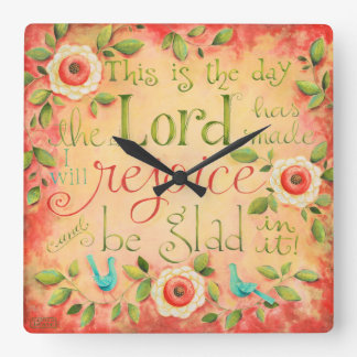 This Is The Day Bible Verse Square Clock