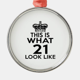 This Is What 21 Look Like Silver-Colored Round Decoration