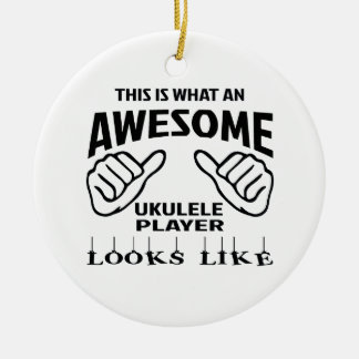 This is what an awesome Ukulele player looks like Round Ceramic Decoration