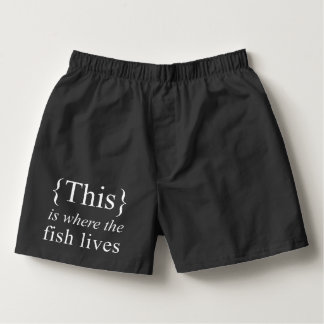 This is Where the Fish Lives Black Cotton Boxers