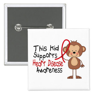 This Kid Supports Heart Disease Awareness Pinback Button
