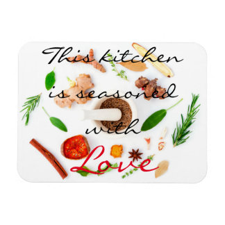 This kitchen is seasoned with love rectangular photo magnet