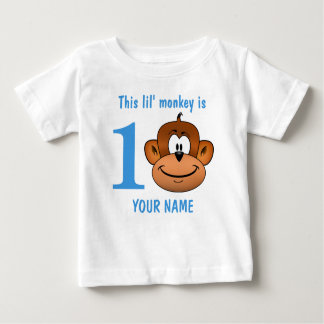 This Lil' monkey is one two three First Birthday Baby T-Shirt
