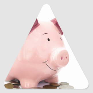 this little piggy went to the bank triangle sticker