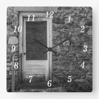 This Old Rock Wall Grayscale Square Wall Clock