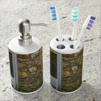 This Old Rock Wall Soap Dispenser And Toothbrush Holder
