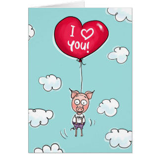 This pig loves you. card