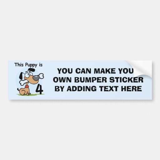 This Puppy 4th Birthday Tshirts and Gifts Bumper Sticker