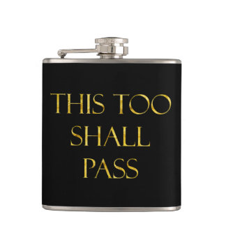 This Too Shall Pass Quote Gold Faux Glitter Hip Flask