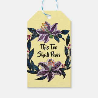 """""""This Too Shall Pass"""" Watercolor Lily Wreath Gift Tags"""