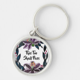 """This Too Shall Pass"" Watercolor Lily Wreath Key Ring"