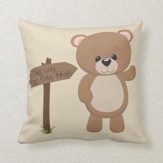 This Way For Free Hugs Teddy Bear Cushion