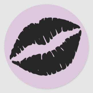 Thistle and Black Lipstick Print Classic Round Sticker